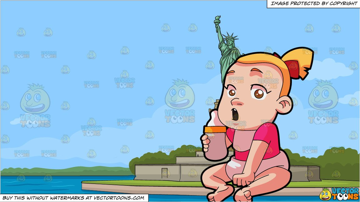 Kid sleeping on statue of liberty clipart jpg library stock A Little Girl Holding A Feeding Bottle and The Statue Of Liberty Background jpg library stock