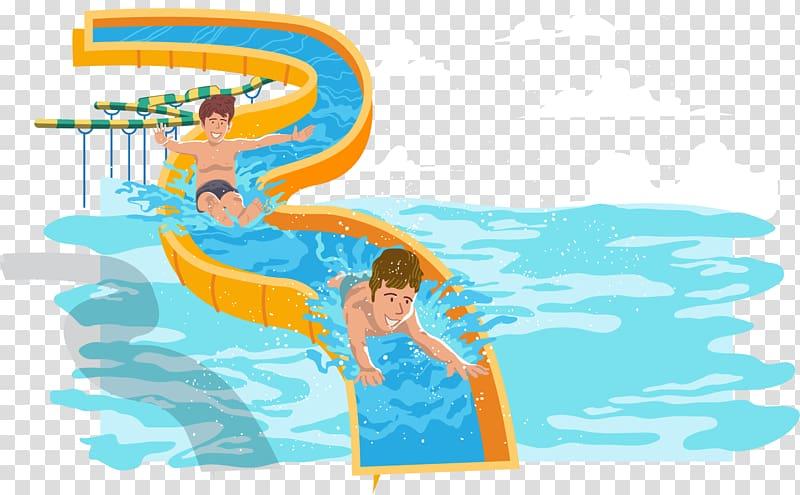 Kid splashing with water clipart white background image Two boy sliding , Water park Water slide Swimming pool ... image
