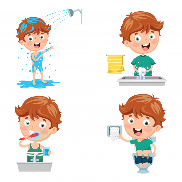 Kid that isn t ever washed their hair a bath clipart graphic freeuse Illustration of kid bathing, brushing teeth, washing hands ... graphic freeuse