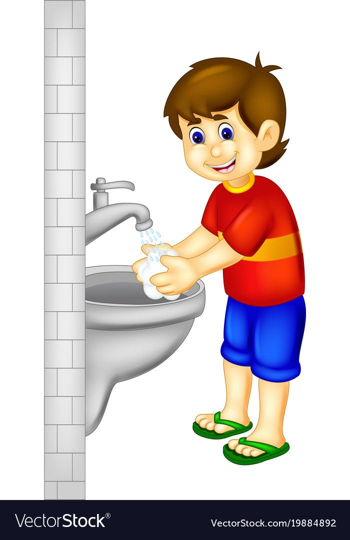 Kid that isn t ever washed their hair clipart picture library library Handsoome boy cartoon stading with hand wash Vector Image ... picture library library