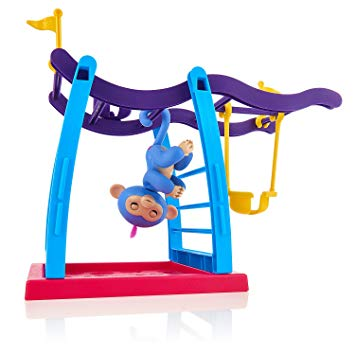 Kid upside down on monkey bars clipart jpg royalty free WowWee Fingerlings Playset - Monkey Bar Playground + Liv The Baby Monkey  (Blue with Pink Hair) jpg royalty free