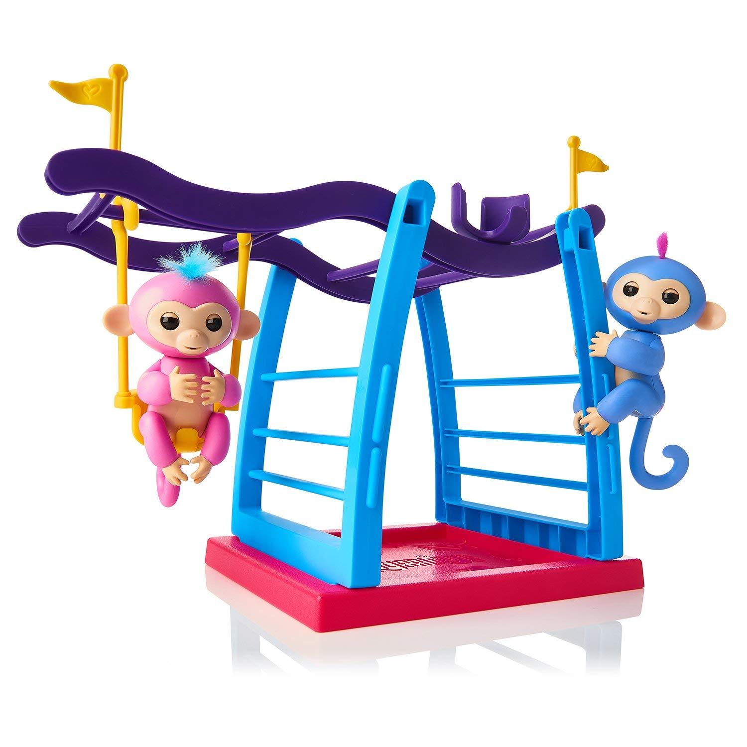 Kid upside down on monkey bars clipart jpg royalty free library 2-Pack Fingerling Baby Monkeys + Monkey Bar/Swing Playground ... jpg royalty free library