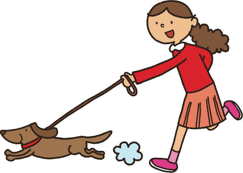 Kid walking dog clipart clipart black and white Clipart - Walking the Dog clipart black and white