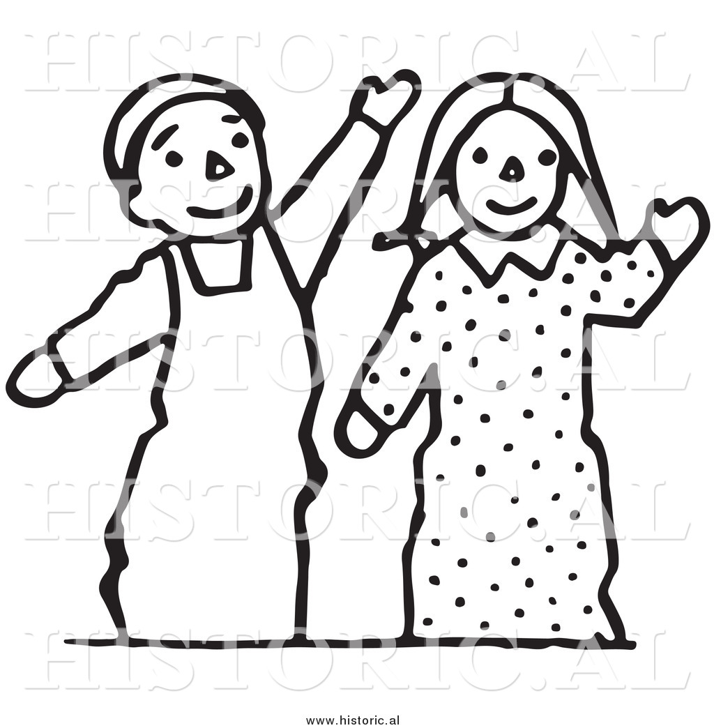Kid waving bye black and white clipart free download Clipart of Waving Boy and Girl Puppets - Black and White ... free download