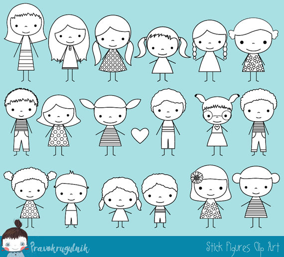 Kids action figures clipart black and white svg free Cute boy and girl stick figure digital stamp, Children stick ... svg free