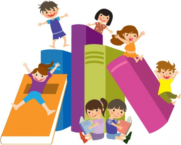 Kids and books clipart vector cartoon free clip black and white library Kids jumping on books Free vector in Adobe Illustrator ai ... clip black and white library
