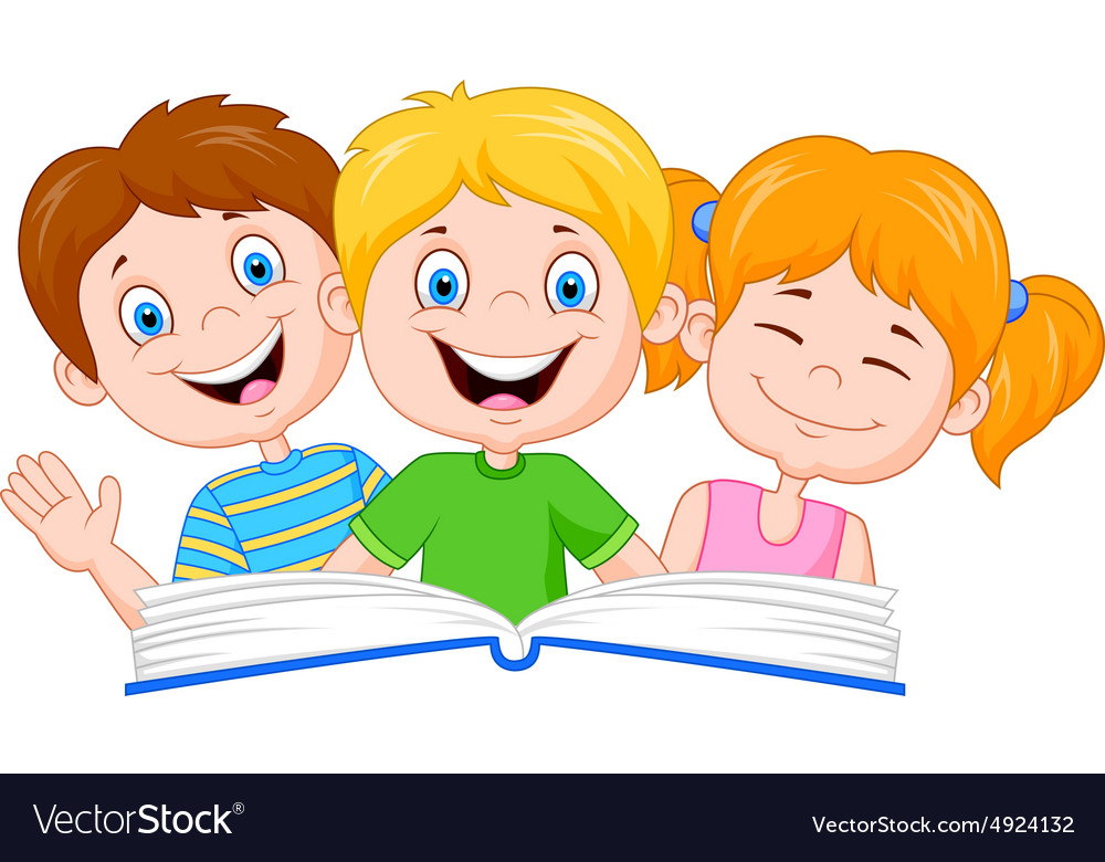 Kids and books clipart vector cartoon free svg library library Cartoon kids reading book svg library library