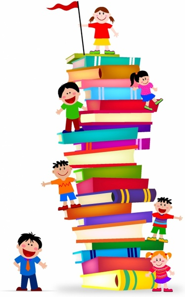Kids and books clipart vector cartoon free clip library library Kids Climb A Stack Of Books Free vector in Adobe Illustrator ... clip library library