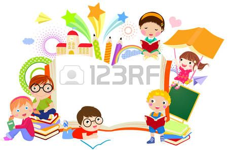 Kids and books clipart vector cartoon free clip black and white download kids reading books cartoon: Kids and book frame | Library ... clip black and white download