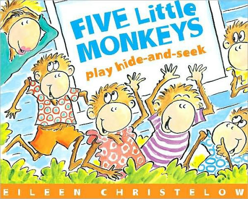 Kids art monkeying around clipart hiden seek vector freeuse Five Little Monkeys Play Hide-and-Seek|Paperback vector freeuse
