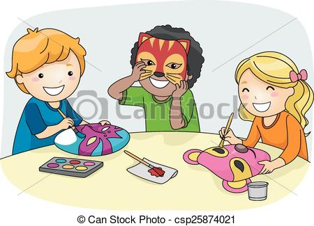 Kids artwork clipart svg library stock Vector Illustration of Kids Mask Making - Illustration of Kids ... svg library stock