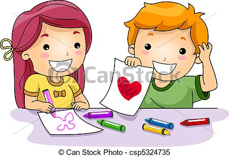 Kids artwork clipart clip freeuse library Stock Illustrations of Valentine Drawings - Illustration of Kids ... clip freeuse library