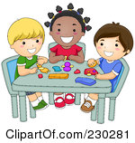 Kids artwork clipart svg black and white stock Royalty-Free (RF) Clipart Illustration of Preschool Kids Holding ... svg black and white stock