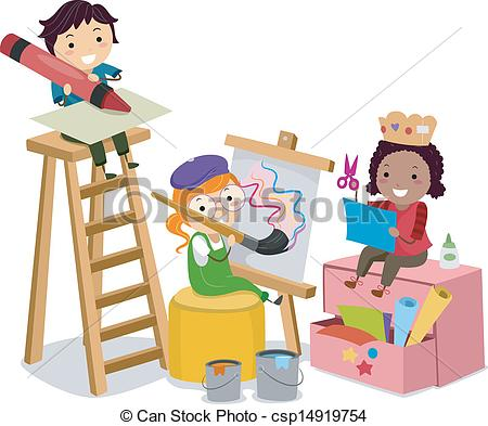Kids artwork clipart png free download Clipart Vector of Stickman Kids making Arts and Crafts ... png free download