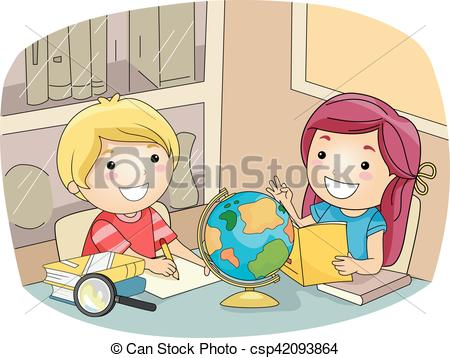 Kids artwork clipart graphic royalty free download Clip Art Vector of Kids Geography Study Room - Illustration of ... graphic royalty free download