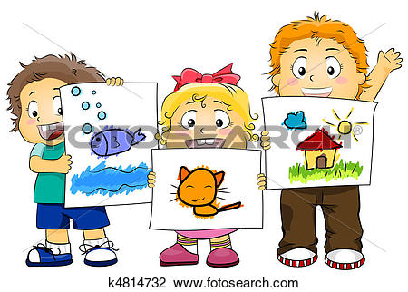 Kids artwork clipart vector black and white library Clip Art of Kid Artworks k4814732 - Search Clipart, Illustration ... vector black and white library