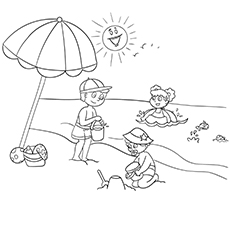 Kids at the beach clipart black and white picture transparent Top 50 Free Printable Summer Coloring Pages Online picture transparent