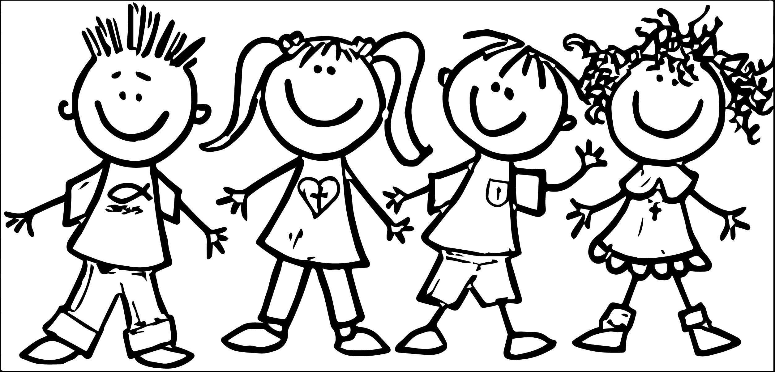 Kids being kind clipart black and white graphic free Happy Kids Clipart Black And White | Letters within Happy ... graphic free