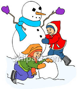 Kids building a snowman clipart clip art download Two Children Building A Snowman - Royalty Free Clipart Picture clip art download