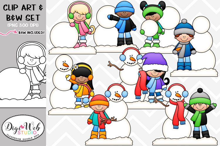 Kids building a snowman clipart jpg library stock Clip Art Illustrations - Build A Snowman Kids jpg library stock