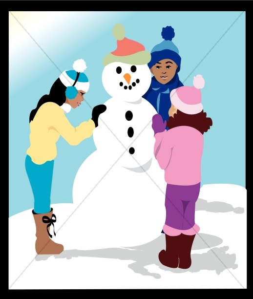 Kids building a snowman clipart transparent library Three Kids Building a Snowman | Christian Children Clipart transparent library