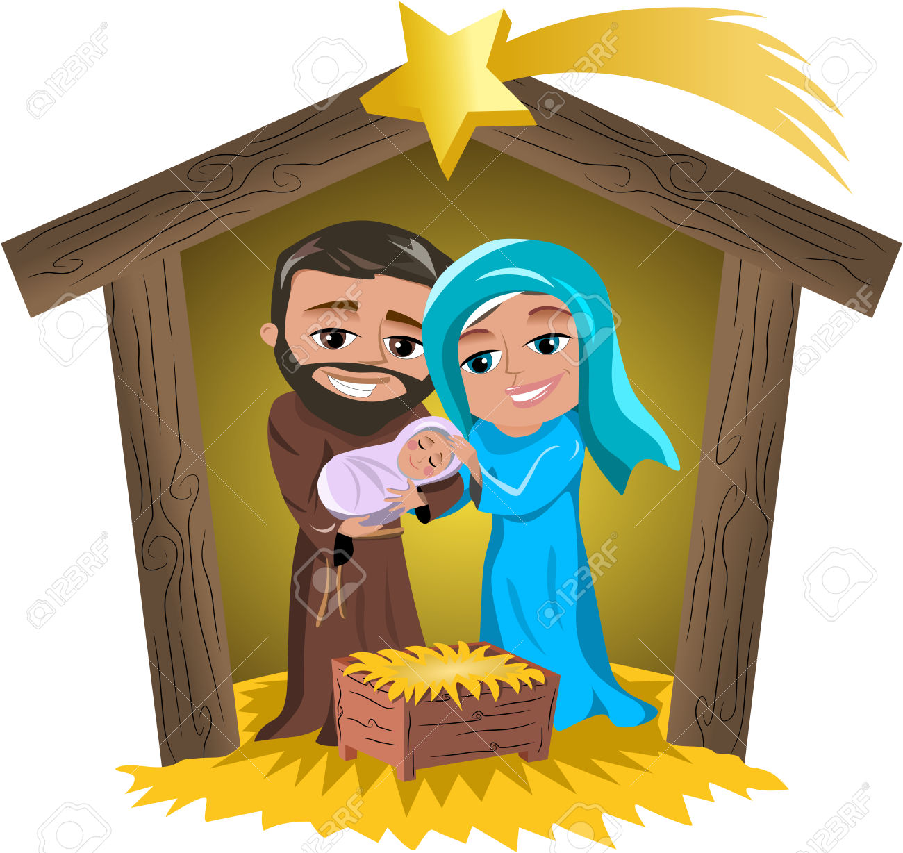 Kids carrying jesus mary and joseph clipart clip art library stock Christmas Nativity Scene With Mary And Joseph Holding Newborn ... clip art library stock