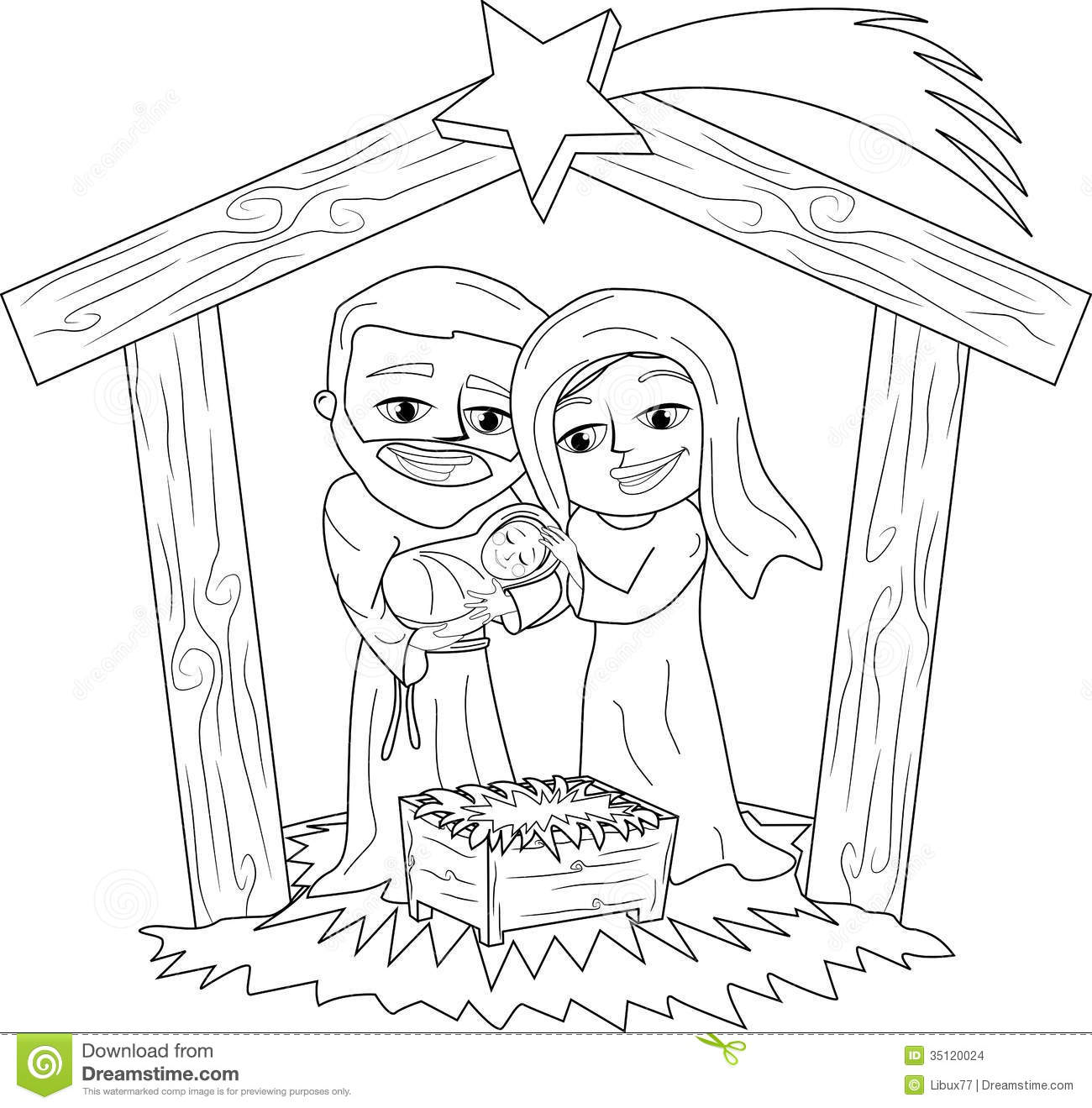 Kids carrying jesus mary and joseph clipart image free library Christmas Nativity Scene Coloring Page Stock Images - Image: 35120024 image free library