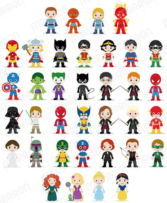 Kids character clipart banner royalty free download Superhero Inspired Characters Clip Art for Birthdays Digital ... banner royalty free download