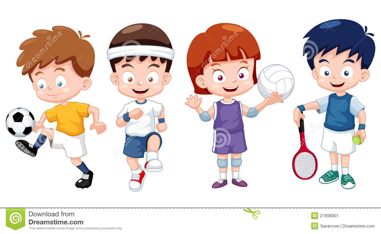 Kids character clipart clipart black and white download Cartoon Kids Sports Characters Stock Image - Image: 27898901 clipart black and white download