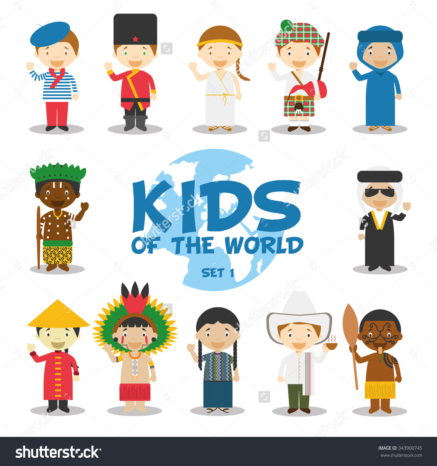 Kids character clipart png freeuse Kids of the world vector illustration: Nationalities Set 1. 12 ... png freeuse