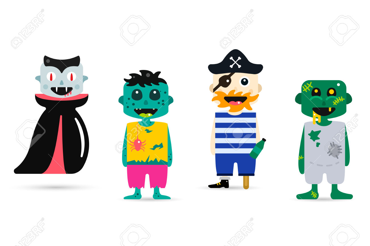 Kids character costumes clipart
