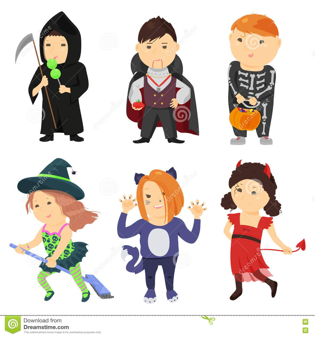 Kids character costumes clipart black and white download Cute Cartoon Kids In Halloween Costumes Stock Vector - Image: 76566954 black and white download