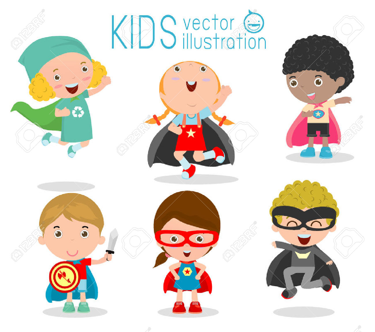 Kids character costumes clipart svg library download Kids With Superhero Costumes Set, Kids In Superhero Costume ... svg library download
