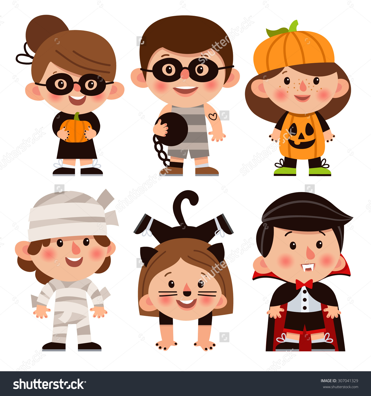 Kids character costumes clipart clip transparent Set Cartoon Characters Halloween Children Dressed Stock Vector ... clip transparent