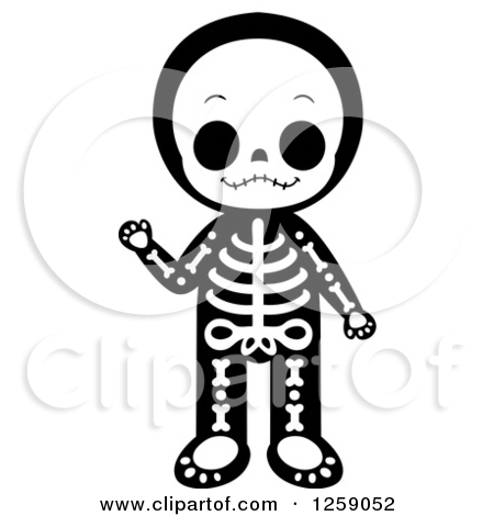 Kids character costumes clipart clipart black and white library Clipart of a Waving Kid in a Skeleton Costume - Royalty Free ... clipart black and white library
