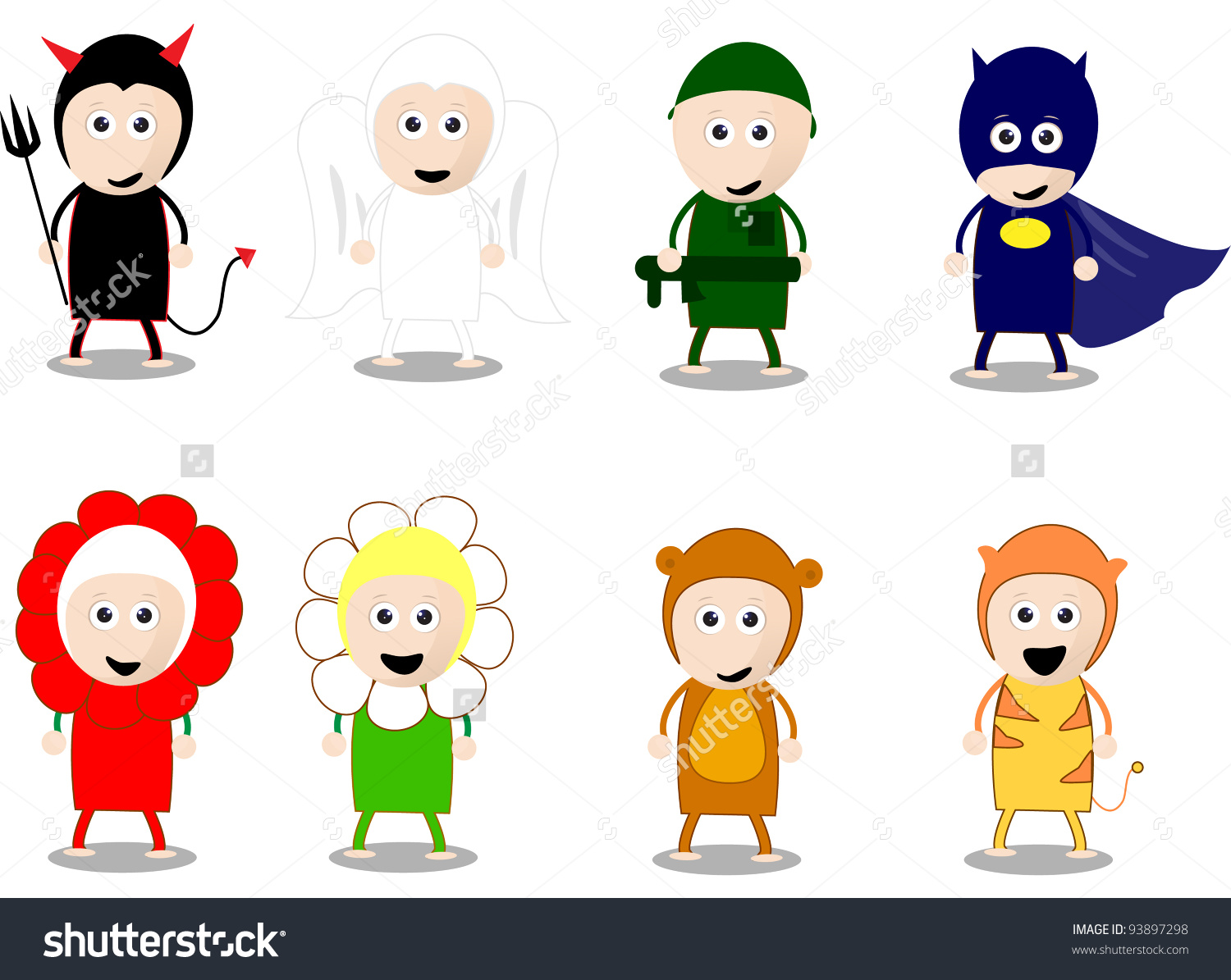 Kids character costumes clipart jpg freeuse Cartoon Character Costumes Kids Stock Vector Illustration 93897298 ... jpg freeuse