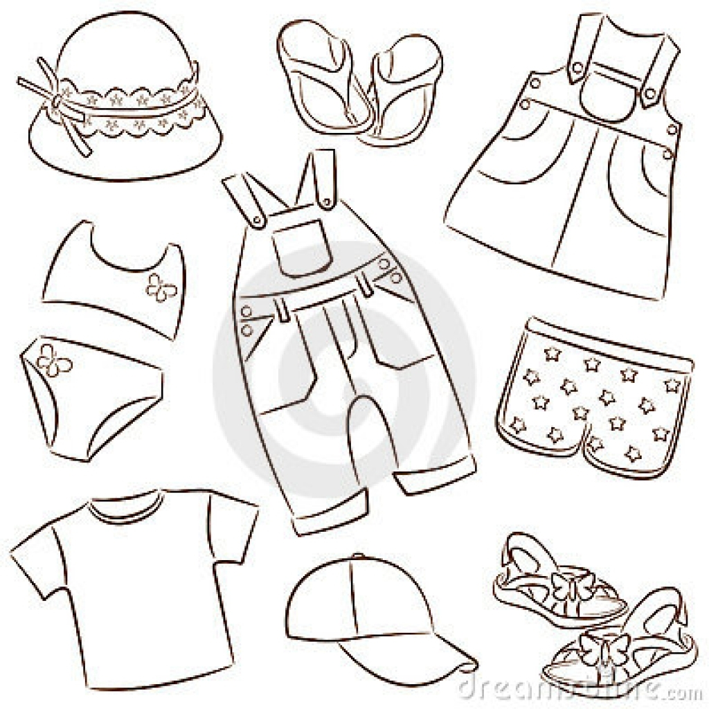 Kids clothing clipart dress black and white clip art free library Summer Clothes Black And White Clipart - Free Clipart clip art free library