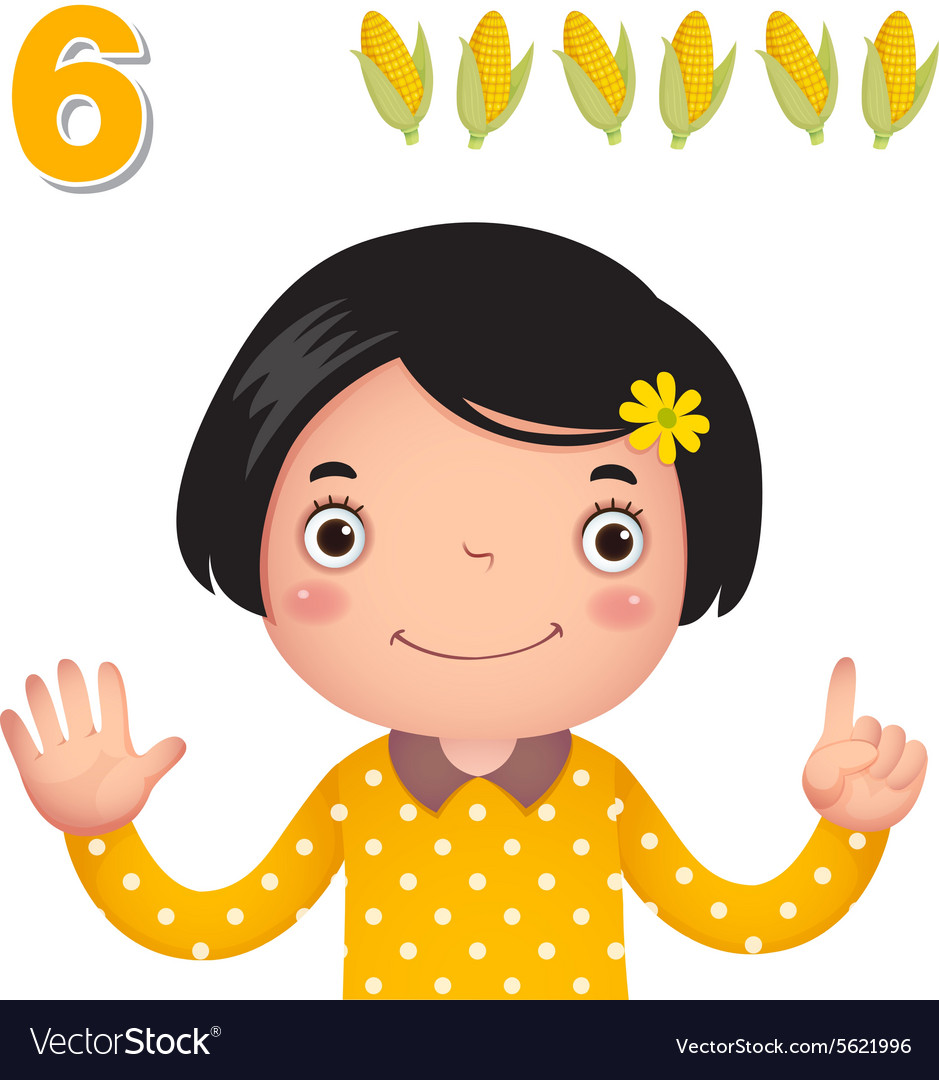 Kids counting clipart graphic black and white stock Learn number and counting number six graphic black and white stock