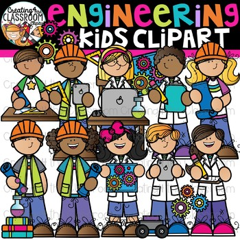 Kids creating cliparts graphic black and white stock Engineering Kids Clipart {STEM Kids Clipart} graphic black and white stock