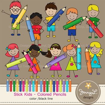 Kids creating cliparts jpg freeuse library Stick Kids Clipart: Colored Pencil Kids , Stick Figure ... jpg freeuse library