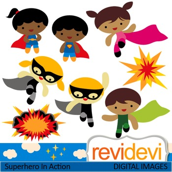 Kids creating cliparts clipart transparent download Clip art Superhero in Action 07433 (cute kids clipart) teacher resource clipart transparent download