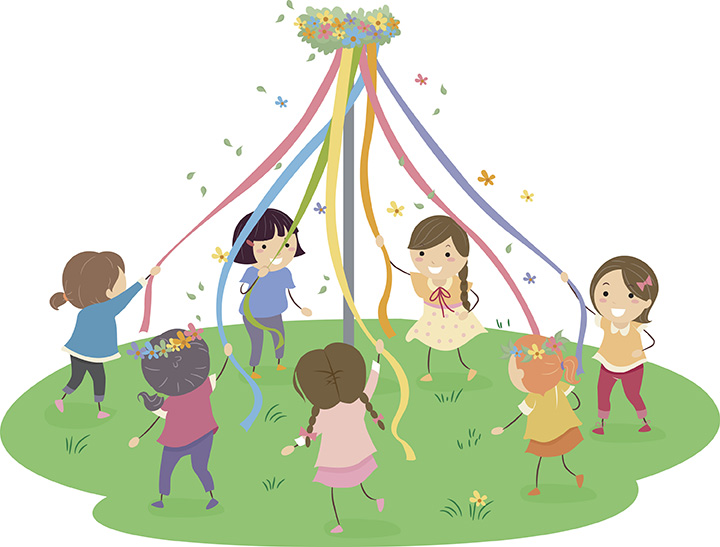Kids dancing in circle clipart image black and white library Ring Around the Rosies - Kids Environment Kids Health ... image black and white library