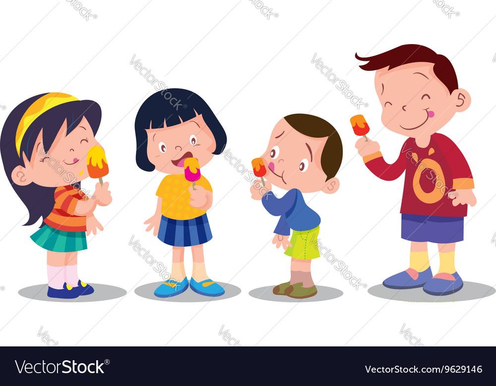 Kids eating ice cream clipart clip art black and white library Children eat ice cream clip art black and white library
