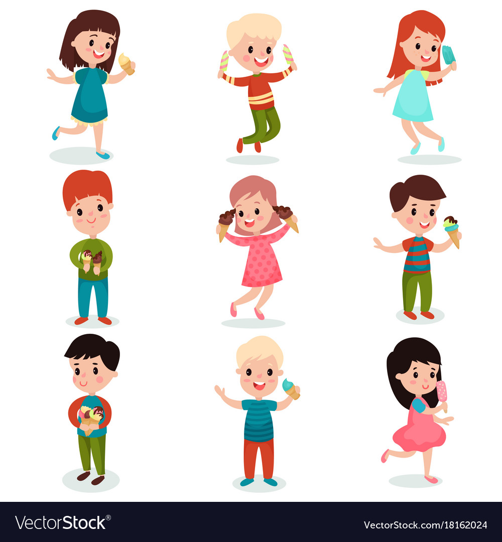 Kids eating ice cream clipart jpg free library Happy kids eating ice cream set of cartoon jpg free library