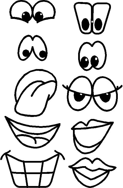Kids eyes and nose black and white clipart graphic free stock Printable Fruit Faces | crafts to do | Drawings, Face cut ... graphic free stock