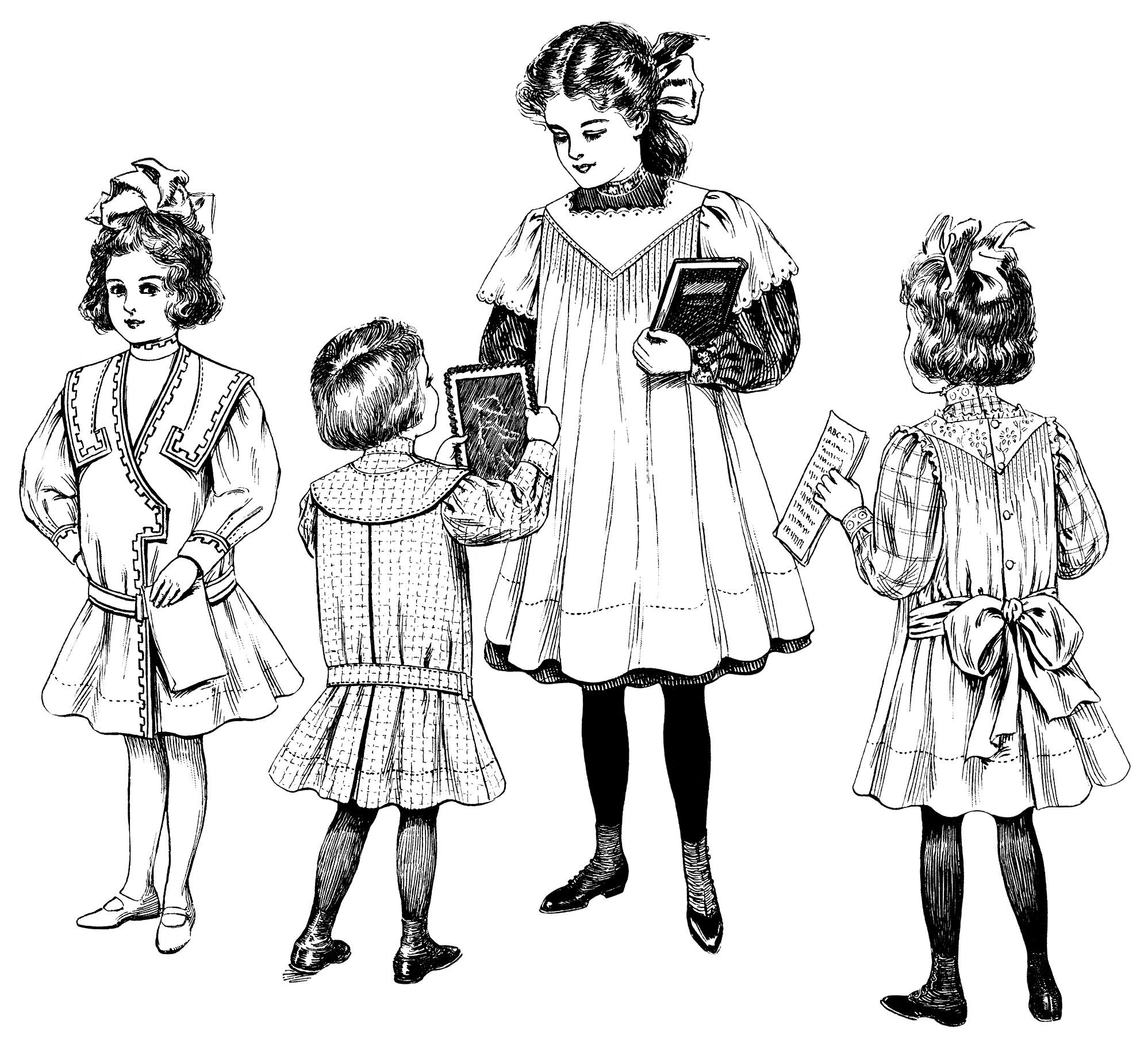 Kids fashion clipart jpg free stock 1908 Children\'s Fashion - Old Design Shop Blog jpg free stock