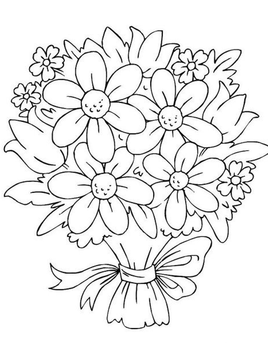 Kids flower bunch clipart black and white png black and white Bouquet Of Flowers Coloring Pages | Coloring Pages(Trisha\'s ... png black and white