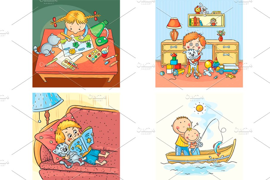 Kids four square clipart clip download Set of 4 pictures with kids clip download
