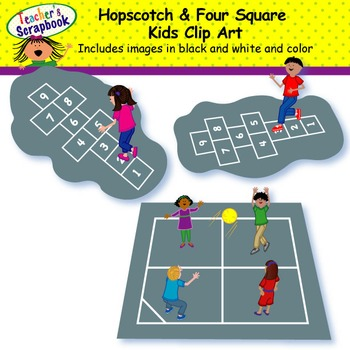 Kids four square clipart jpg freeuse download Hopscotch & Four Square Kids Clip Art jpg freeuse download