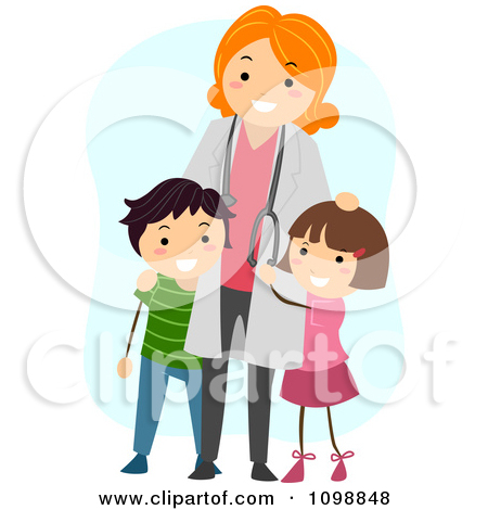 Clipart Friendly Female Pediatric Doctor Standing With Two Kids ... graphic free stock